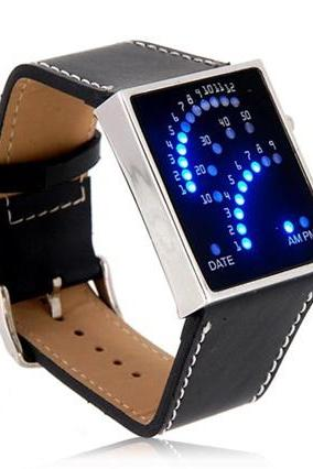 Fan Watch Dial PU Leather Band Blue Backlit LED Watch (Black)