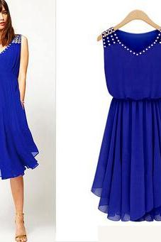 Asymmetrical Hem Rivet Design Blue Chiffon Dress