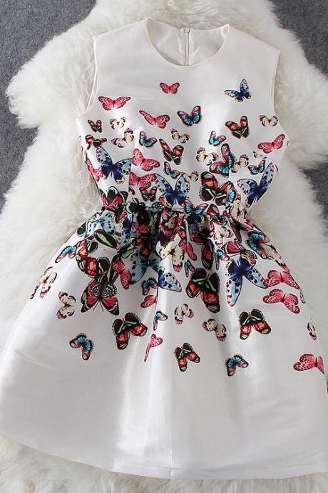 Butterfly Print Sleeveless Dress