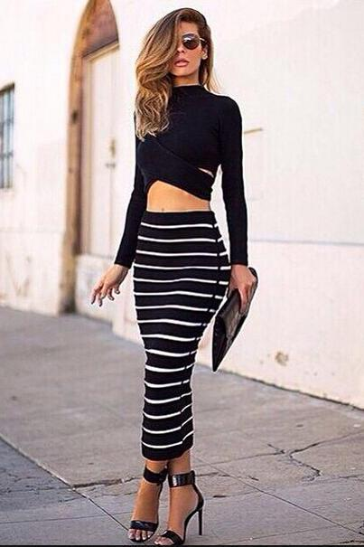 2 Sets High Collar Fold Long Sleeve Stripe Dress Suit