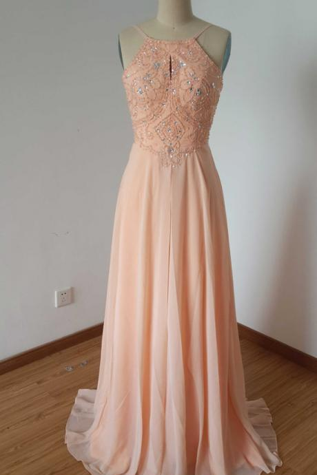 Spaghetti Strap Beaded Chiffon Long Prom Dress ,evening Long Dress.bridesmaid dress