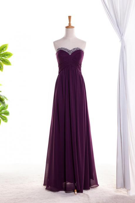Sweetheart Beaded Purple Long Prom Dress ,evening Dress.bridesmaid dress Long Chiffon Dress With Beaded Sweetheart
