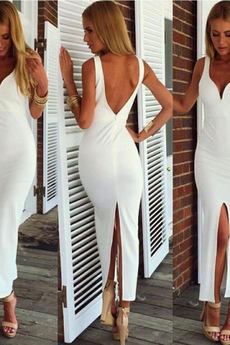 Sexy White Backless Bandage Bodycorn Club Dresses for 2015 summer