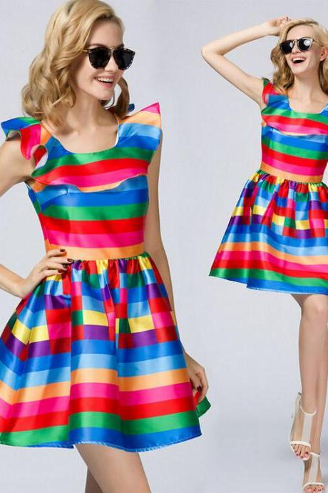 2015 the European and American fashion colorful stripe dress