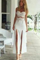 Sexy White Lace Two-Piece Dress