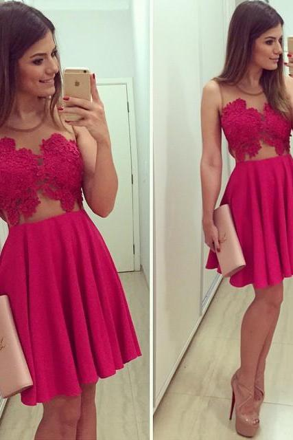 Sexy Red V-Neck Lace Dress for 2015 Summer