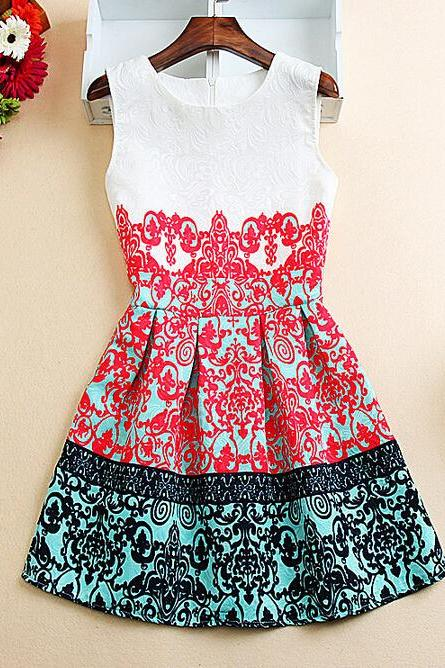 Fashion printed sleeveless vest dress VG41918MN