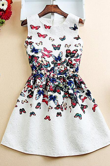 Printed Slim sleeveless vest dress VG41920MN