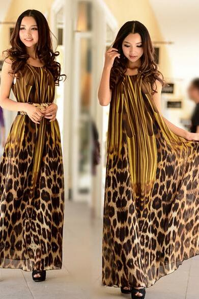 Leopard grain color dress to send belt