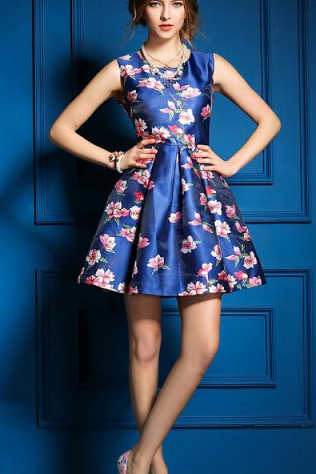 Plum flower printed blue sleeveless dresses