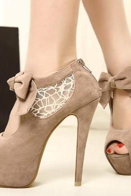 Lace stitching bow high heel Shoes HND42005XG