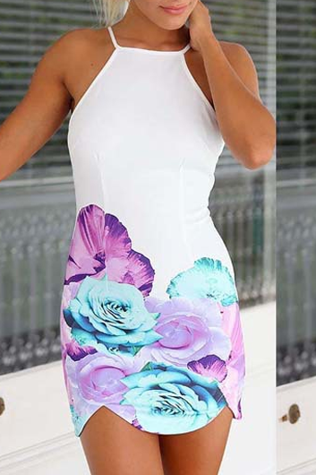 Sexy Open Back Strap Design Printed Bodycon Dress