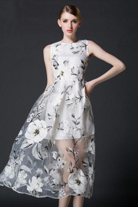 Organza Printed Sleeveless Dresses