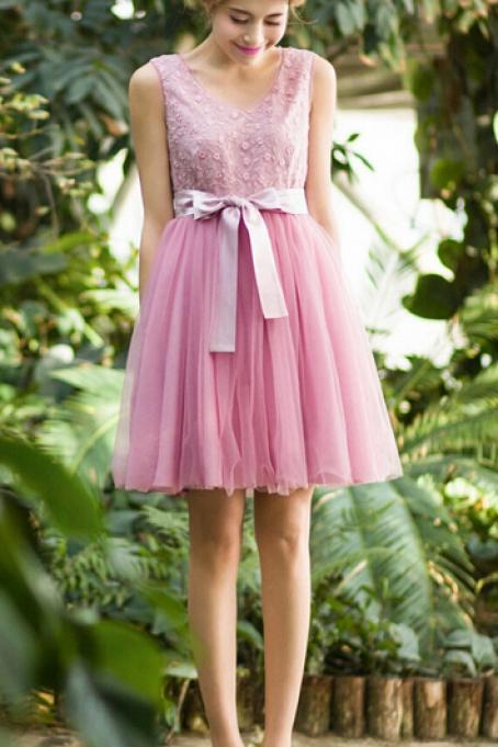 Organza Embroidered Pink Dress