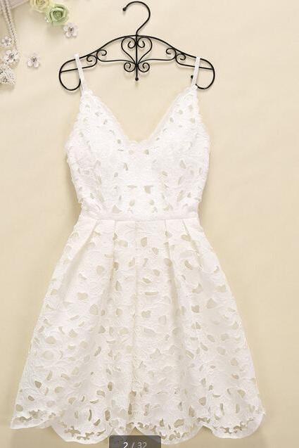 Hollow Out Vest Harness Render Lace Dress-White