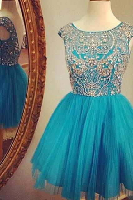 Cap sleeve prom dress, short prom dress, pretty prom dress, junior prom dress, cute prom dress, BD64