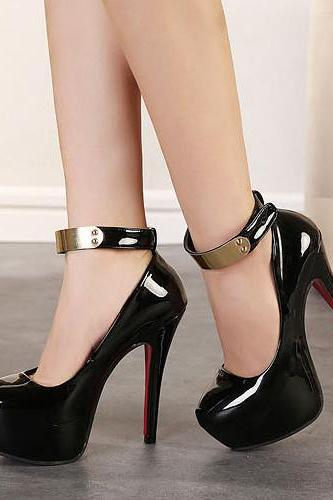 Fashion Round Closed Toe Sequineds Embellished Stiletto Super High Heels Black PU Ankle Strap Pumps