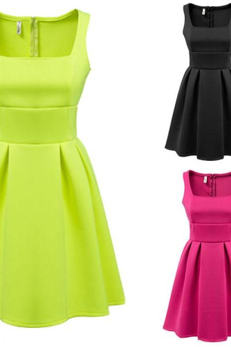2015 Womens Slim fit Bubble Ruffle Frill Flared Skater Ball Gown pleated Dress