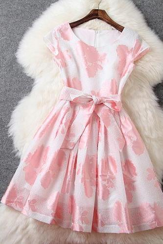 Fashion New High Quality Sleeveless Floral Dress - Pink