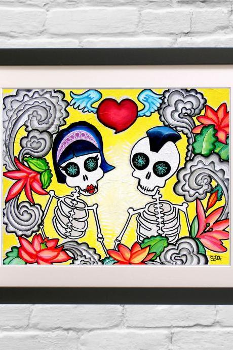 Day of the Dead Art Print - Rockabilly Punk Couple in Love - Tattoo flash Skeleton