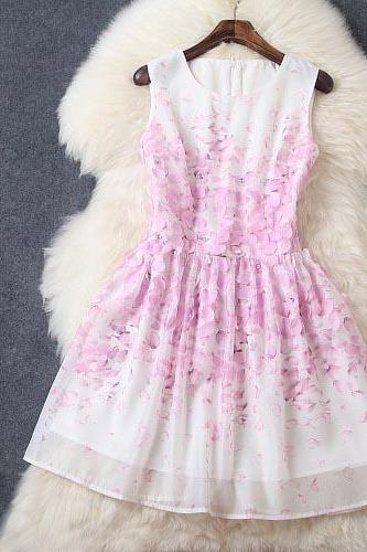 Luxury 3D Flowers Sleeveless Dress - Light Purple