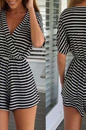 Stripe Knitting Jumpsuit Sexy Dress VG42105MN