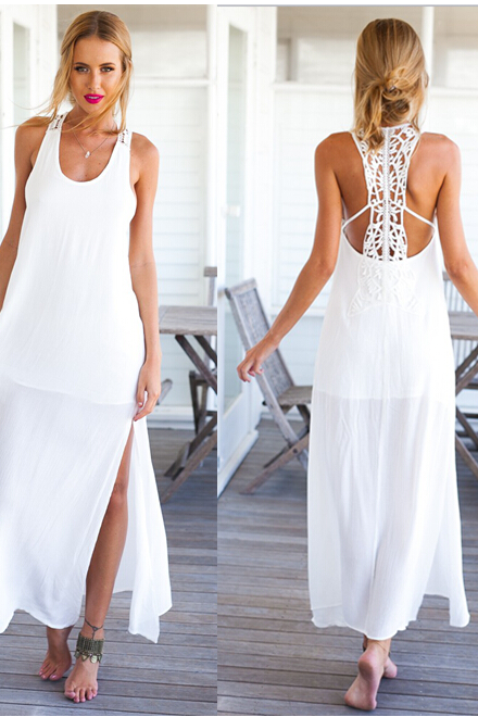 White Chiffon Sleeveless Scoop Neck Maxi Dress Featuring Lace Cutout Back and High Slits