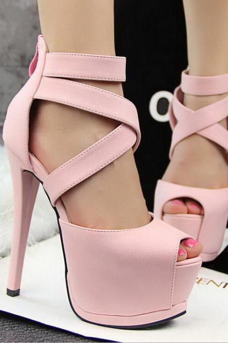 2015 in Europe and the cross with sexy pink fish mouth high-heeled sandals