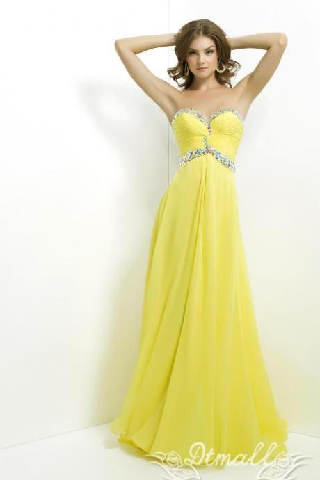Yellow Sweetheart Collar Evening Dress Party Dress Beads Backless Chiffon Dress Long Prom Dress S046