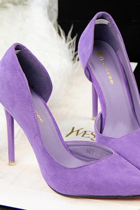2015 the European and American fashion contracted fine with high heels show thin purple suede high heels for women's shoes