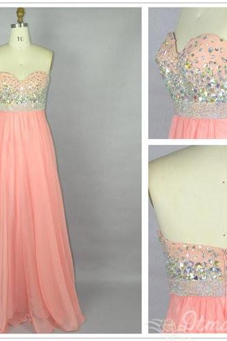 Sweetheart Collar Evening Dress Party Dress Beads Backless Chiffon Dress Long Prom Dress S047