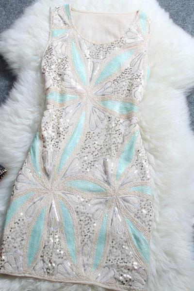 Sweet Embroidered Sequined Dress FG42116JH