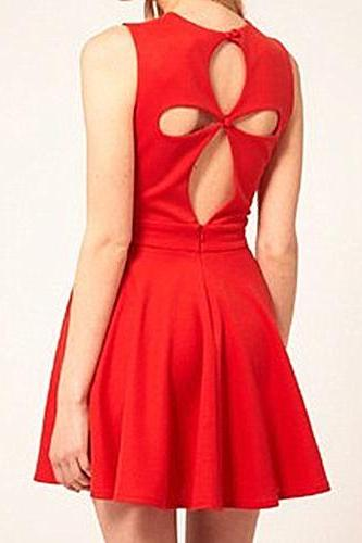 Hollow Waist Sleeveless Dress QHCHYRBRDTRO9AMMHCGTH