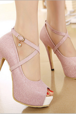 Sexy Sequined Shoes Fish Head High Heels Shallow Mouth Fine--Pink JI1OGE2HWIKJ1FSIZWM2Y