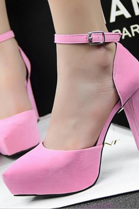 2015 in Europe and the contracted thick with high heel suede pointed one word with OL vocational pink high-heeled sandals