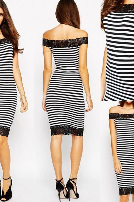 Fashion Women Lace Black Stripe Bodycon Evening Party Cocktail Sexy Pencil Dress
