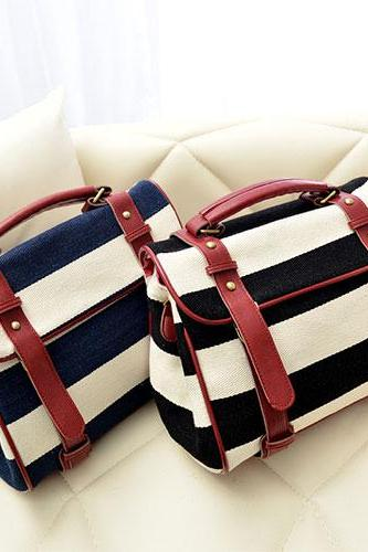 Navy Style Retro Stripe Print Motorcycle Bag Handbag