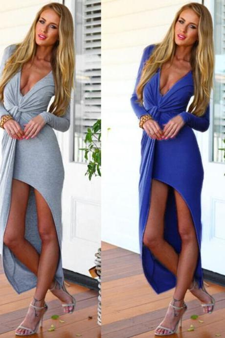 2015spring women sexy deep v neck dress fashion dresses