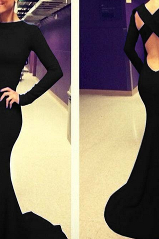 Sexy Black Cross Back Mermaid Design Long Sleeve Dress RT8NB