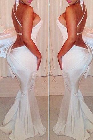 Sexy Backless Mermaid Dress In White VG42117MN