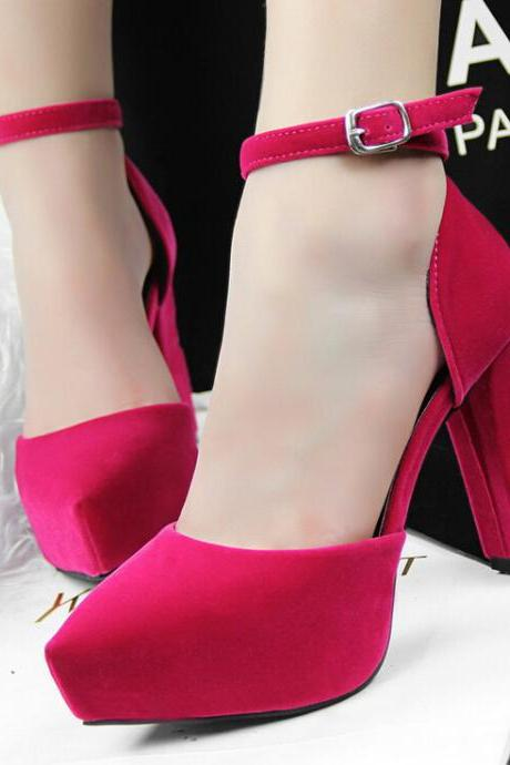 2015 in Europe and the contracted thick with high heel suede pointed one word with OL vocational mei red high heels sandals