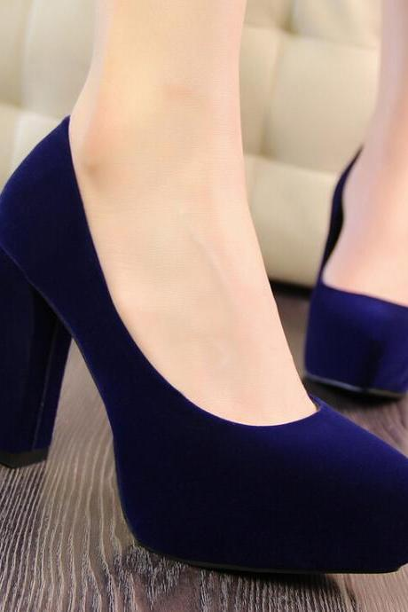 2015 the European and American fashion contracted with blue suede professional OL thick with high women's shoes