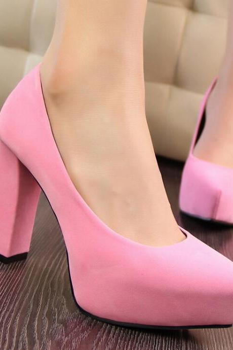 2015 the European and American fashion contracted with pink suede professional OL thick with high women's shoes