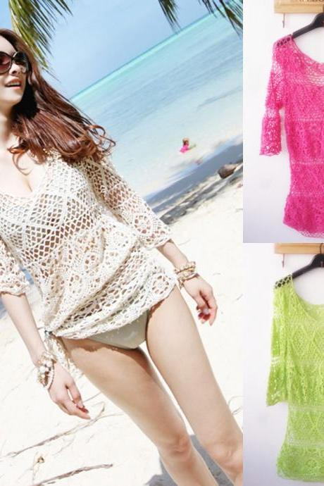 Hot Ladys Crochet Bikini 3/4 Sleeve Swimwear Lace Cover Up Beach Bathing Suit