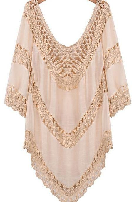 Ivory Cotton Knitted Cardigan ivory Cream Mesh Crochet tops for Women-V shape Neckline