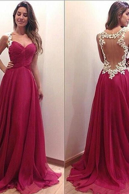 Backless sheer Lace Appliques Beaded Long Prom Dress