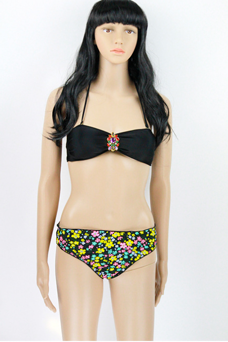 Sexy Black Flower With Drill Women's Bathing Suit Fission 111