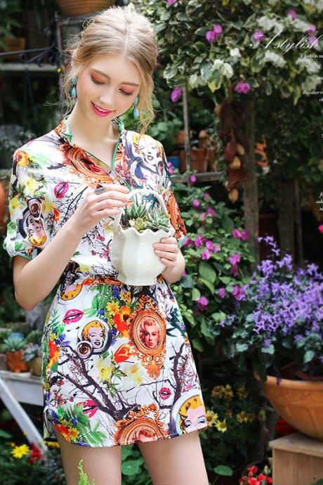 Bohemia Stand Collar Short Sleeve Floral Silk Slim Fit Dress