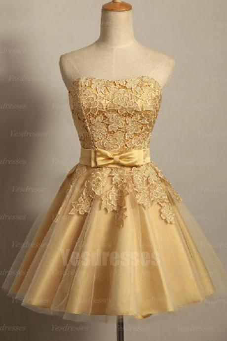 Golden prom dress, lace prom dress, short prom dress, sleeveless prom dress, pretty prom dress, evening dress, party dress, affordable dress, PD15012