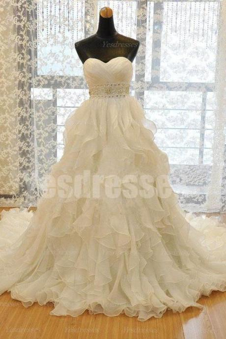 Tulle Sweetheart Floor Length Frilled Wedding Gown Featuring Beaded Embellished Belt, Lace-Up Back and Train